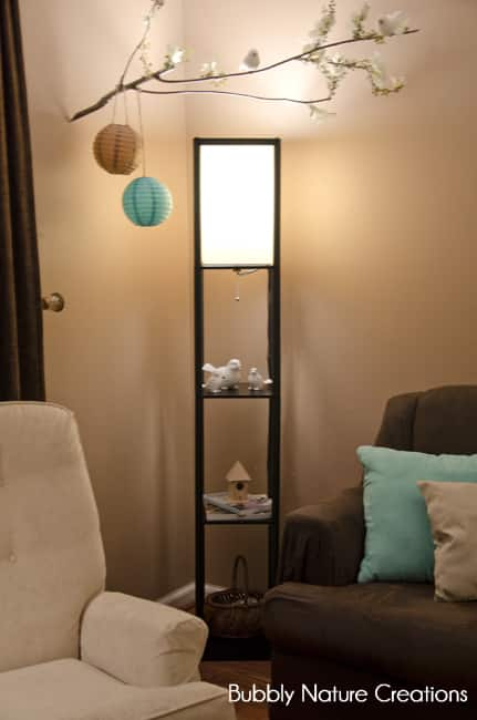 Amazing lighting makeover with ge reveal cfls sprinkle some fun i love the new lamp that we bought for the corner of the room it also has some shelves underneath mozeypictures Gallery