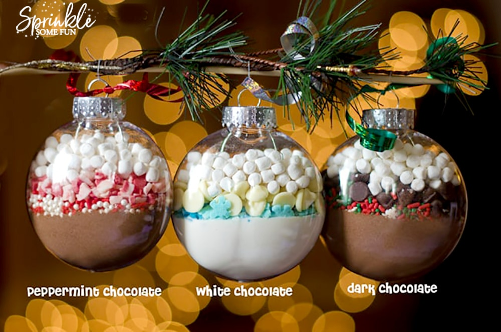 hot cocoa filled ornaments