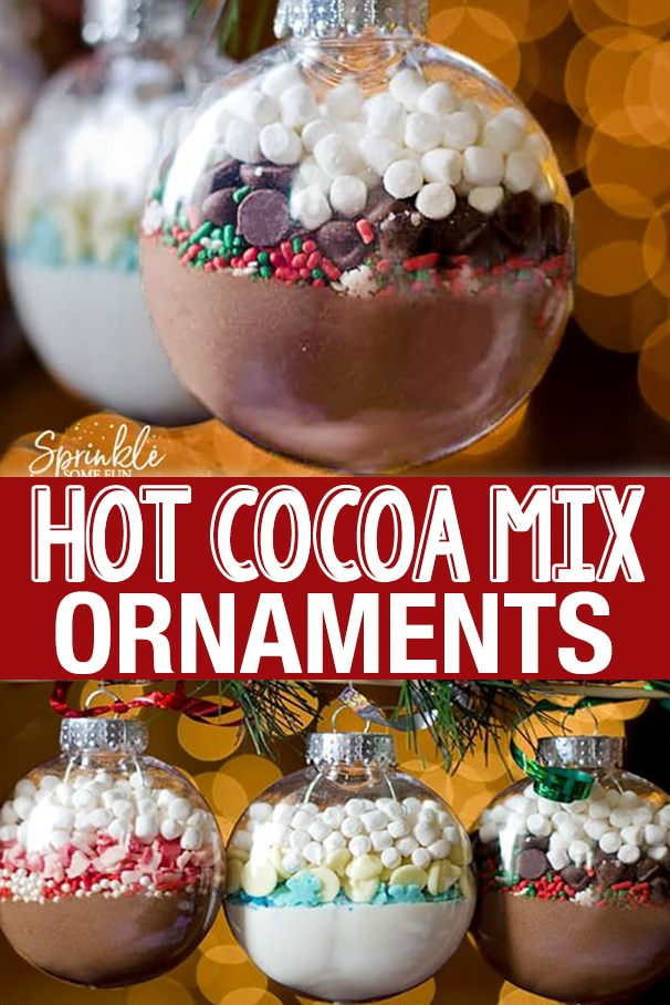 DIY Hot Cocoa Mix Ornaments are an easy DIY gift idea for coworkers, neighbors, kids, and friends. Make them variety of ways and give them to everyone for Christmas! #hotcocoa #hotchocolate #ornament #DIYgift #Christmas #Christmasgift #DIYChristmas #handmade #craft #Christmascraft #Tutorial #ChristmasDIY #HotCocoaOrnament #coworkergift #friendgift #holidaygift
