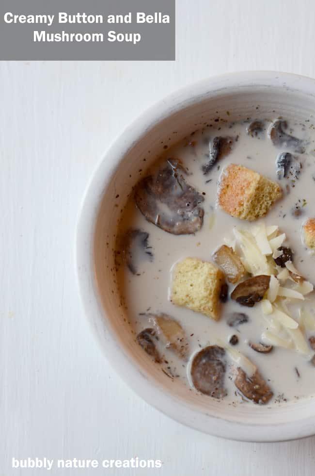 Creamy Button and Bella Mushroom Soup