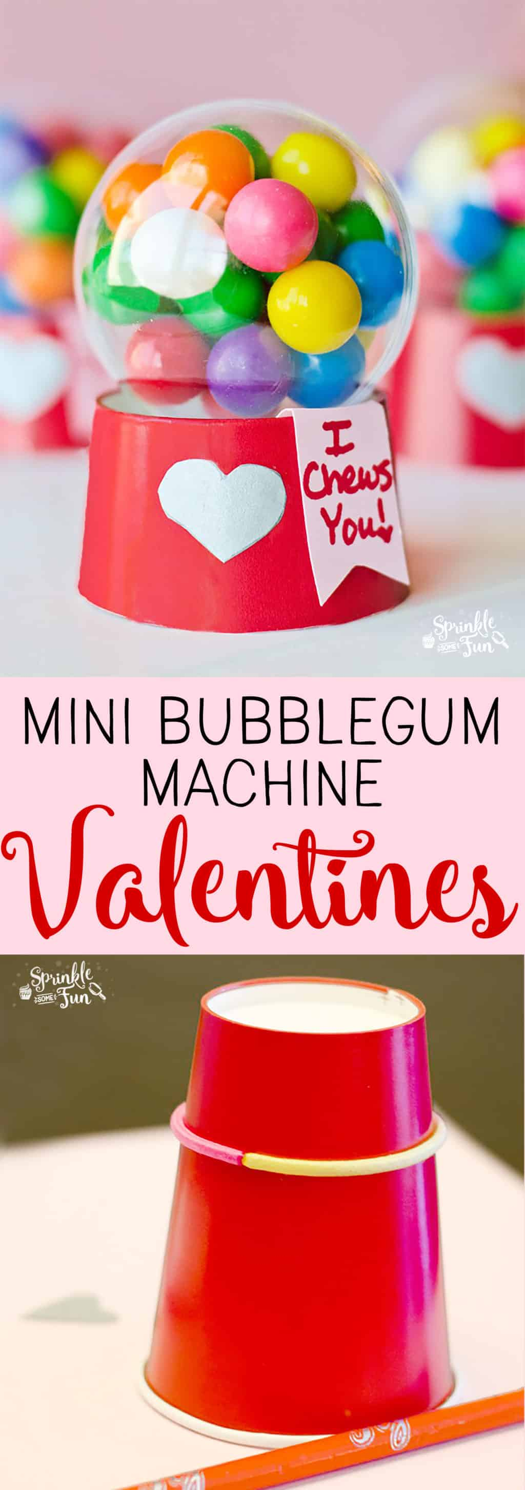 These Mini Bubblegum Machine Valentine's are a super cute gift for Valentine's Day.  Kids love making and enjoying this DIY gift!