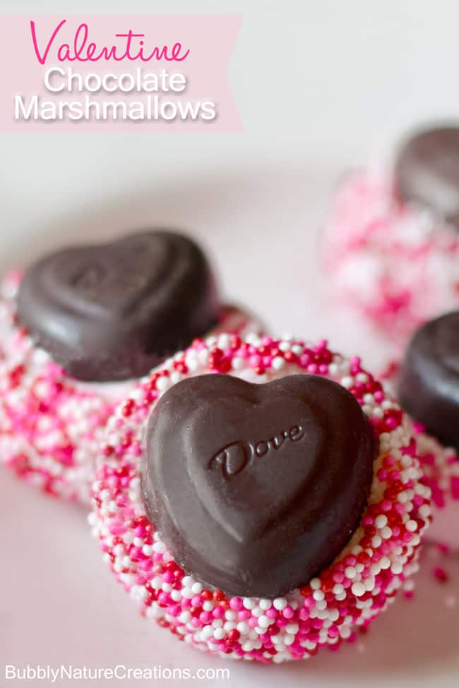 Chocolate Marshmallows {Homemade Valentine Candy}!   So pretty and doesn't involve melting or cooking anything!