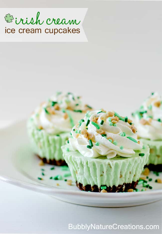 Irish Cream Ice Cream Cupcakes