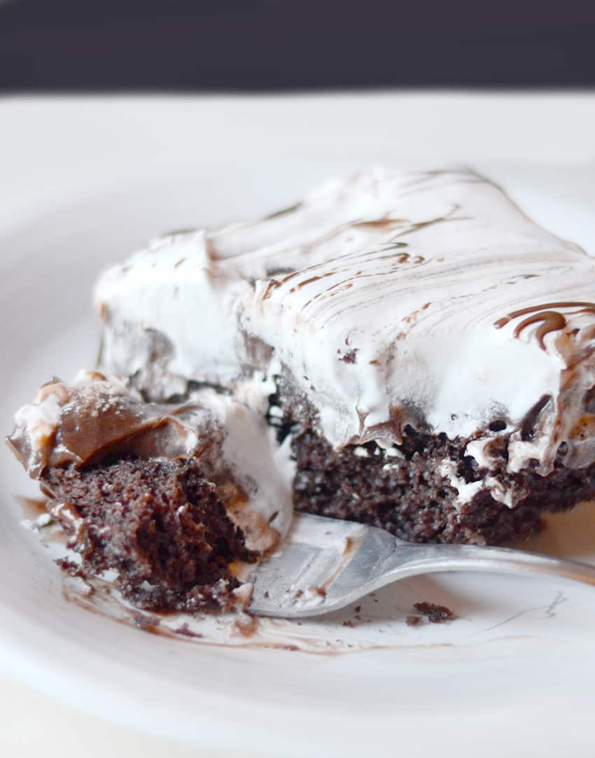Chocolate Pudding Poke Cake! A delicous treat is so moist and creamy!