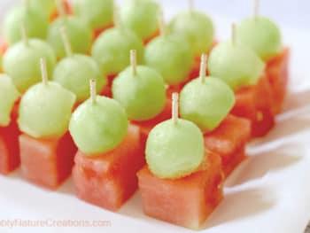 Mini Melon Bites with Honey Dew and Watermelon