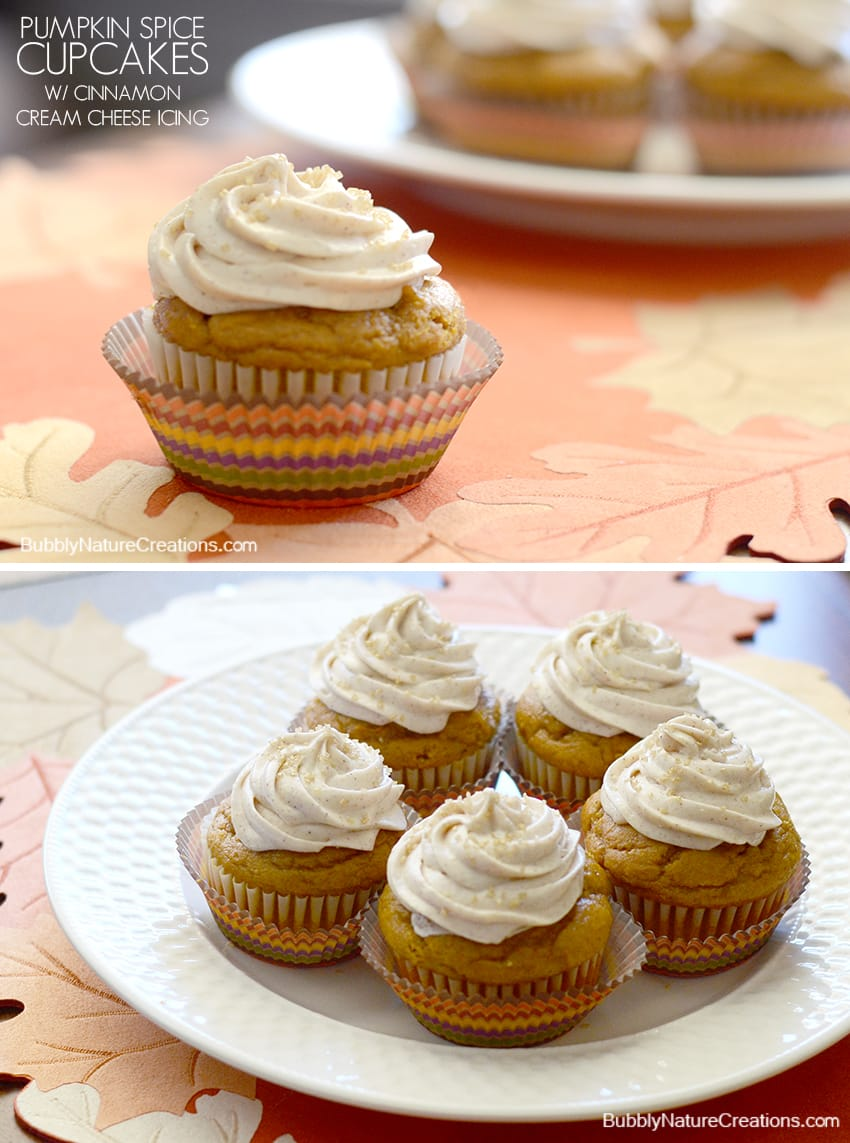 Pumpkin Spice Cupcakes w/ Cinnamon Cream Cheese Icing ...
