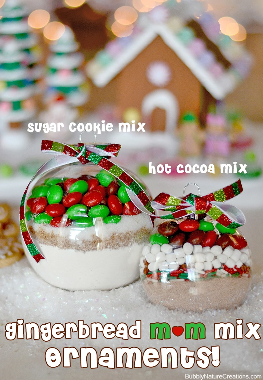 Gingerbread m&m mix ornaments (sugar cookie and hot cocoa)