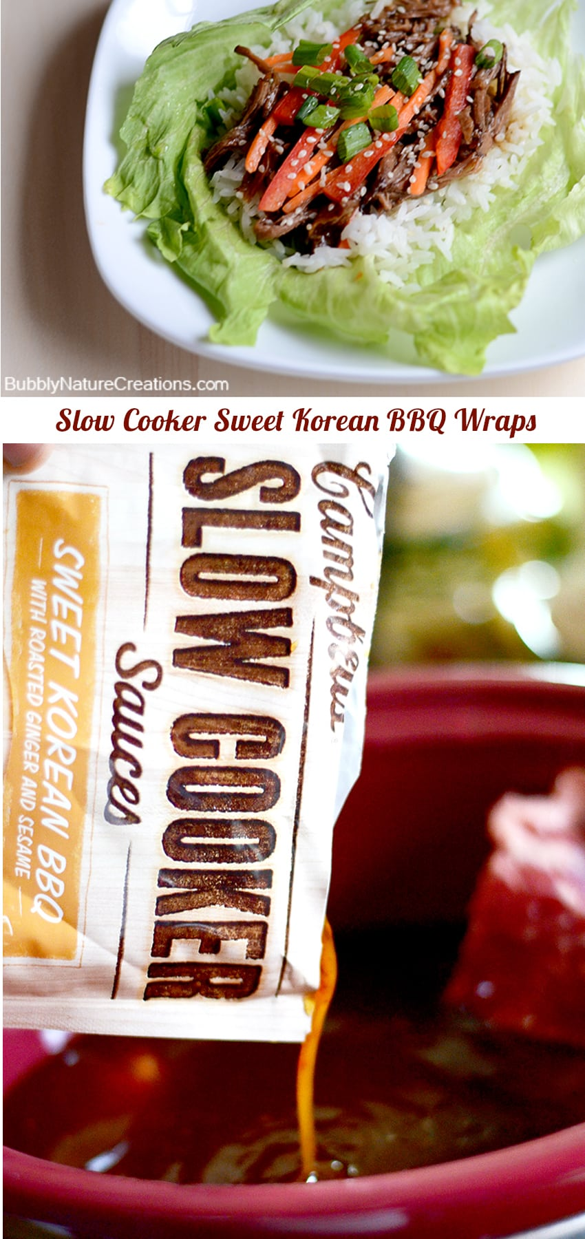 Slow Cooker Sweet Korean BBQ Wraps #CampbellsSkilledSaucers #ad