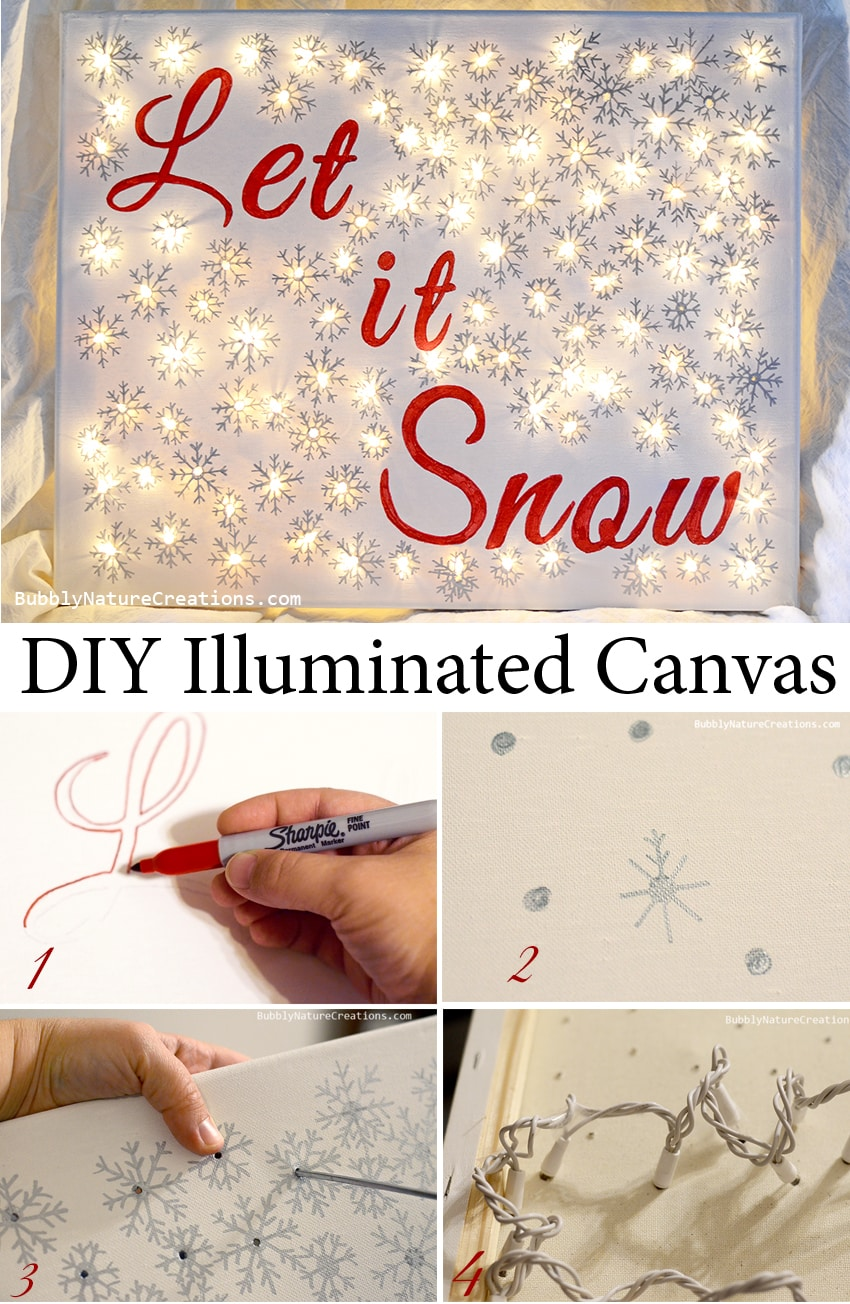 Steps to make a Christmas canvas with lights
