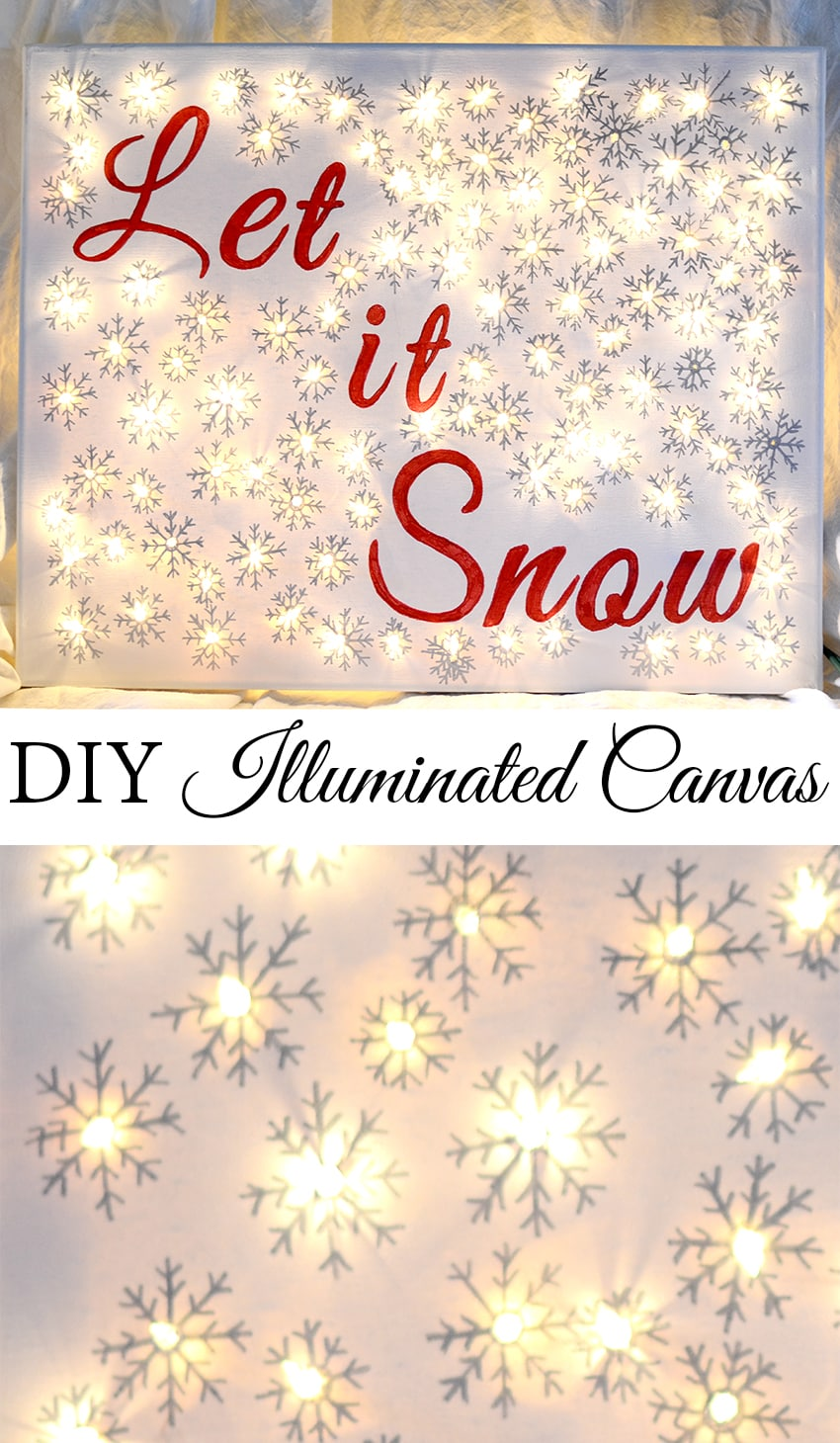 DIY Lighted Christmas Canvas using Sharpies and Mini Lights,,, so easy!