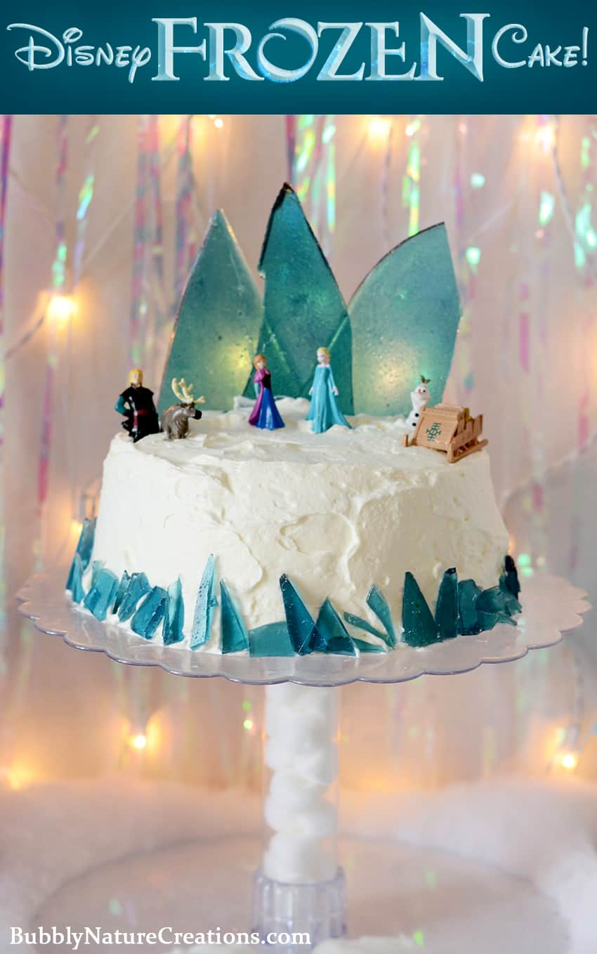 Disney FROZEN Ice Cream Cake! The ice candy mountain and whipped cream topping are the perfect frozen treat for a party!