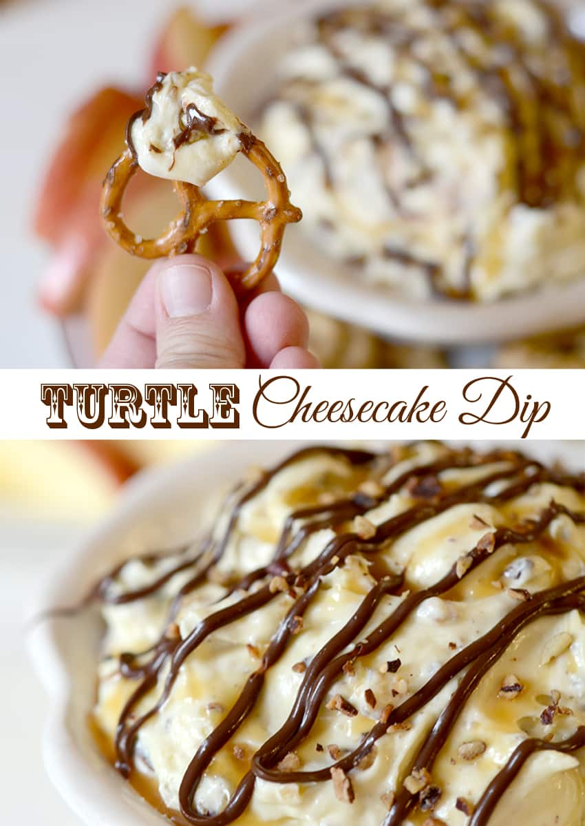 Turtle Cheesecake Dip! Easy recipe that is great to whip up for a party! #ad #SpreadPossibilities #hersheysheroes