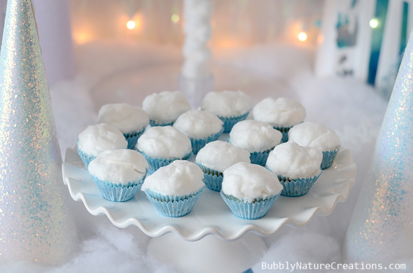 FROZEN Snowball Cupcakes!  Disney Frozen Party! The Ultimate FROZEN party full of the best ideas! Includes Frozen cake, Frozen recipes and Frozen activities!   The Frozen cake and Olaf donuts are amazing! #FrozenFun, #shop, #cbias