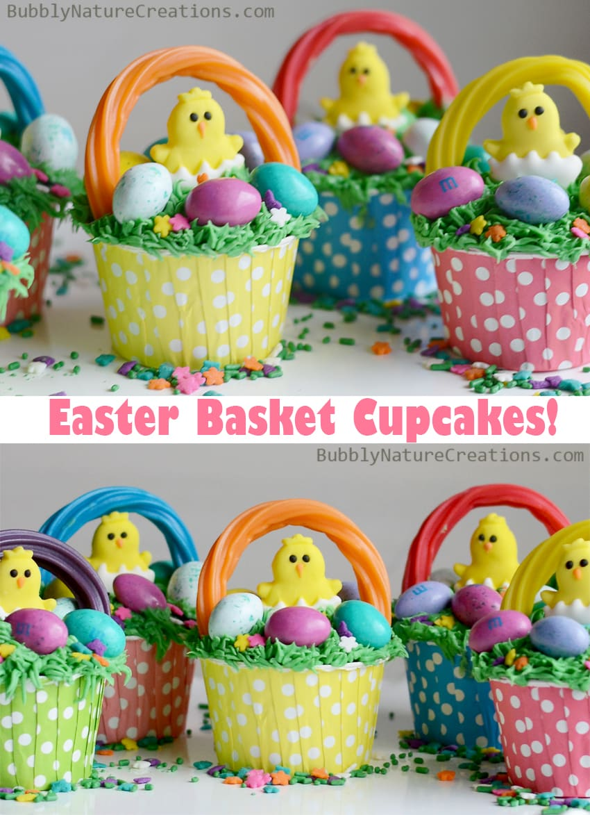 Easter Basket Cupcakes!  So adorable and easy to make.  Love the chicks and grass! 3