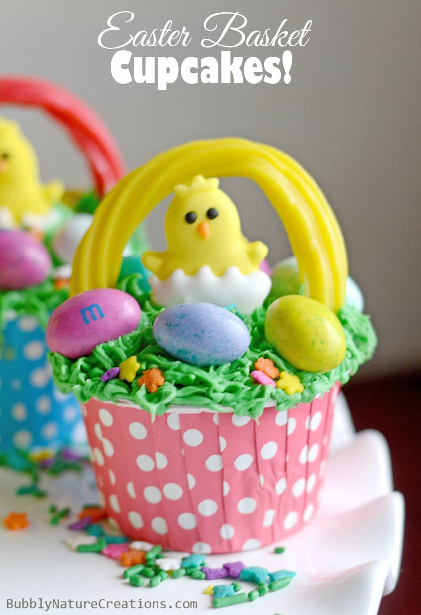 Easter Basket Cupcakes!  So adorable and easy to make.  Love the chicks and grass! 4