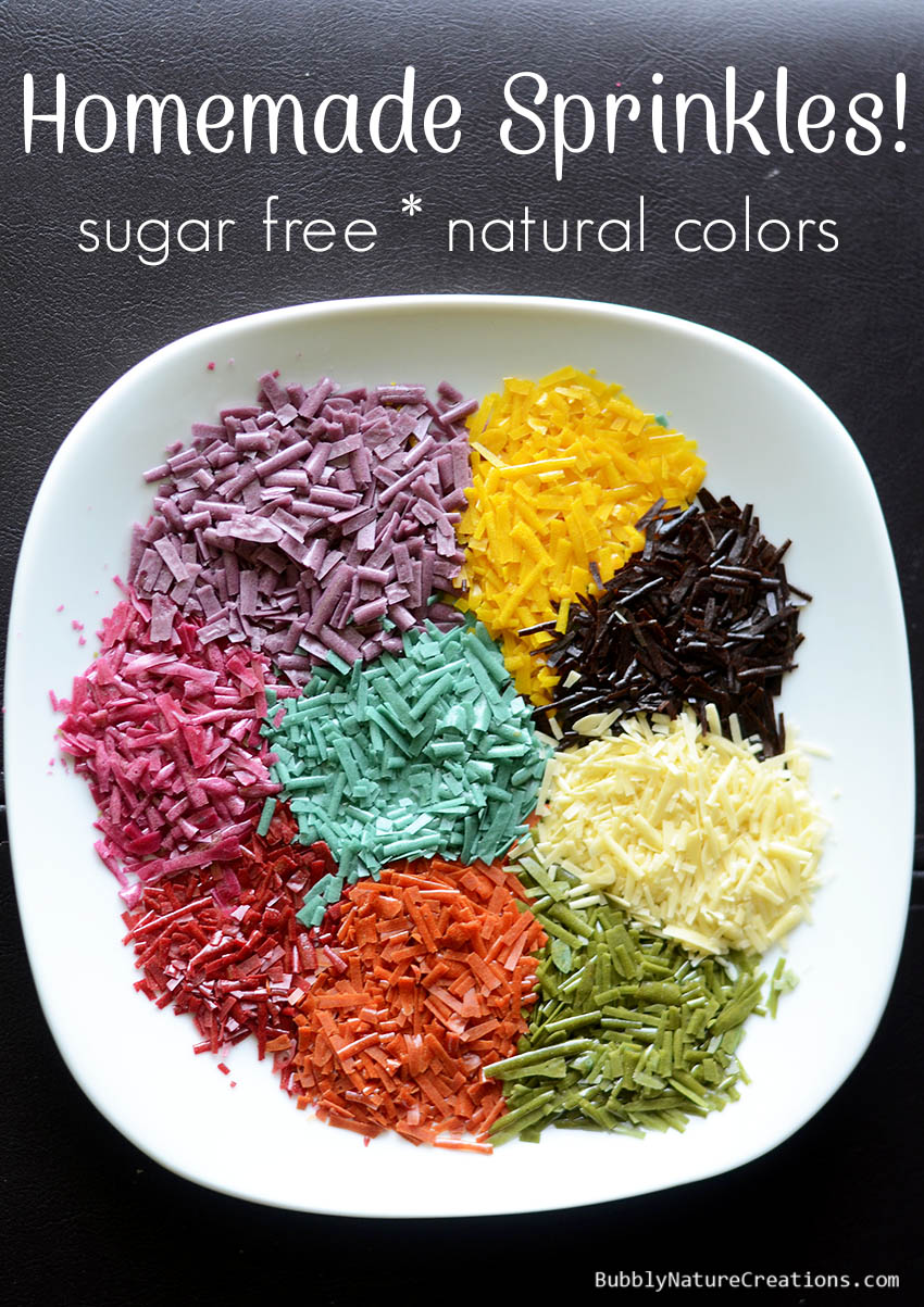 Homemade Sprinkles that are sugar free and naturally colored! Perfect for low carb desserts!