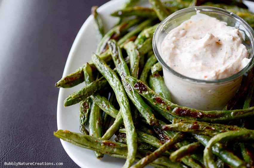 Roasted Green Bean Fries with Creamy Dipping Sauce! These fries are amazing and even taste better than potato french fries!!! Roasting is the key to great veggies!