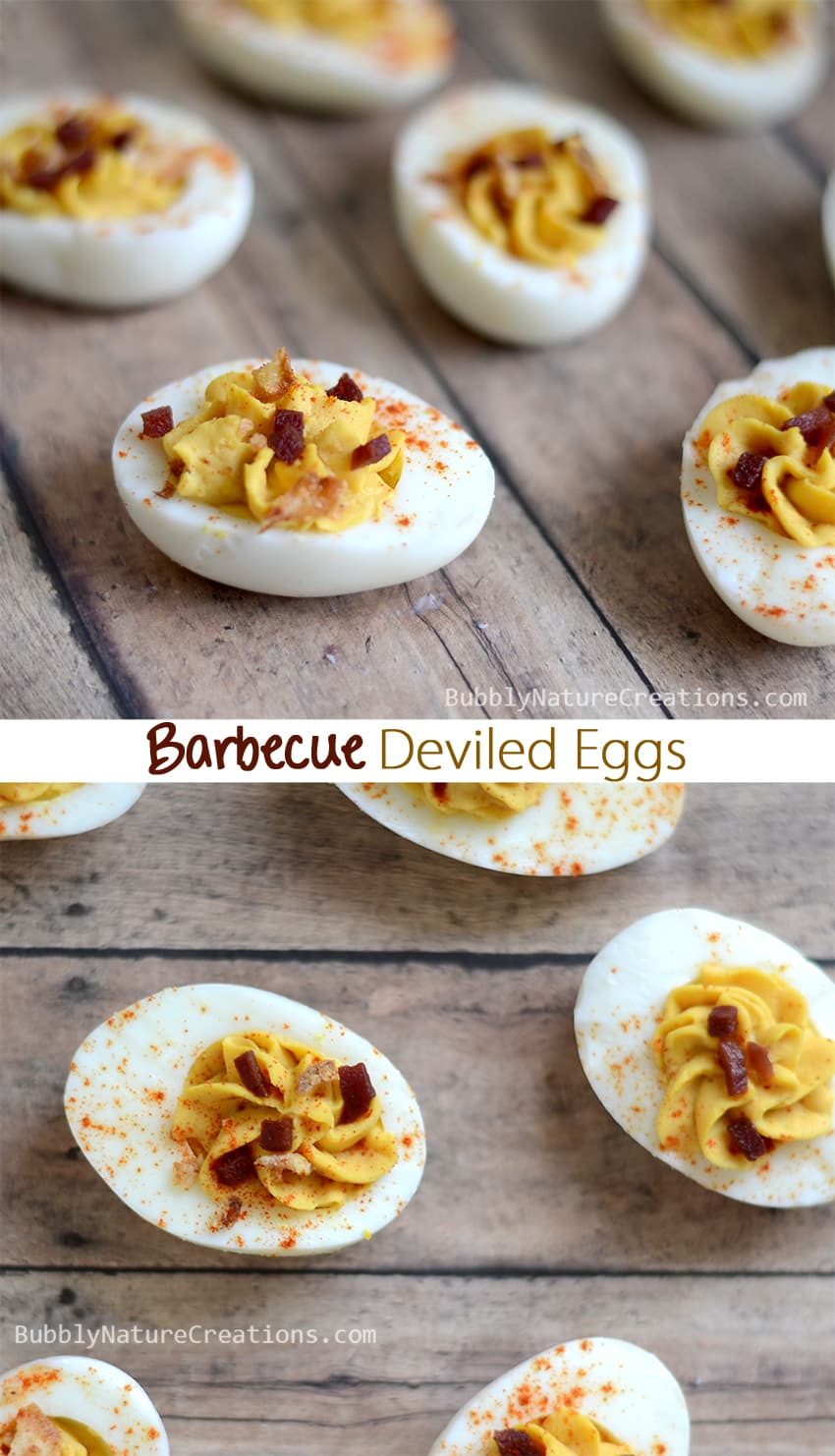 Barbeque Deviled Eggs!  Slightly sweet and tangy BBQ sauce is a tasty addition to deviled eggs!