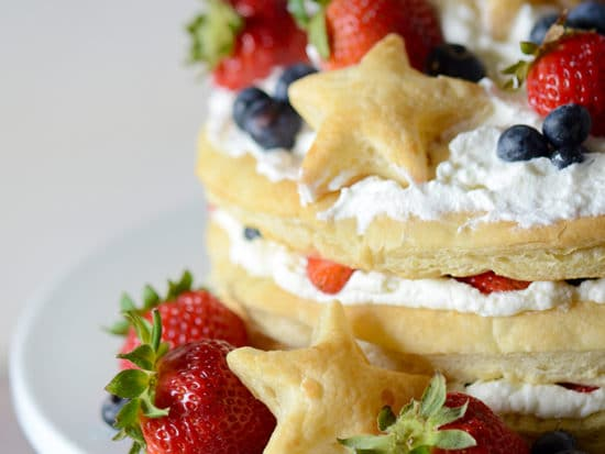 Red, White, and Blueberry Cream Puff Cake!