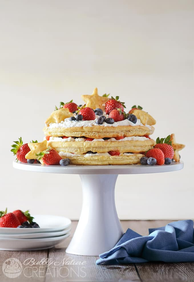 Red White and Blueberry Cream Puff Cake!  Make this impressive dessert easily with puff pastry sheets, whipped cream and fresh berries!!!! #WalmartProduce