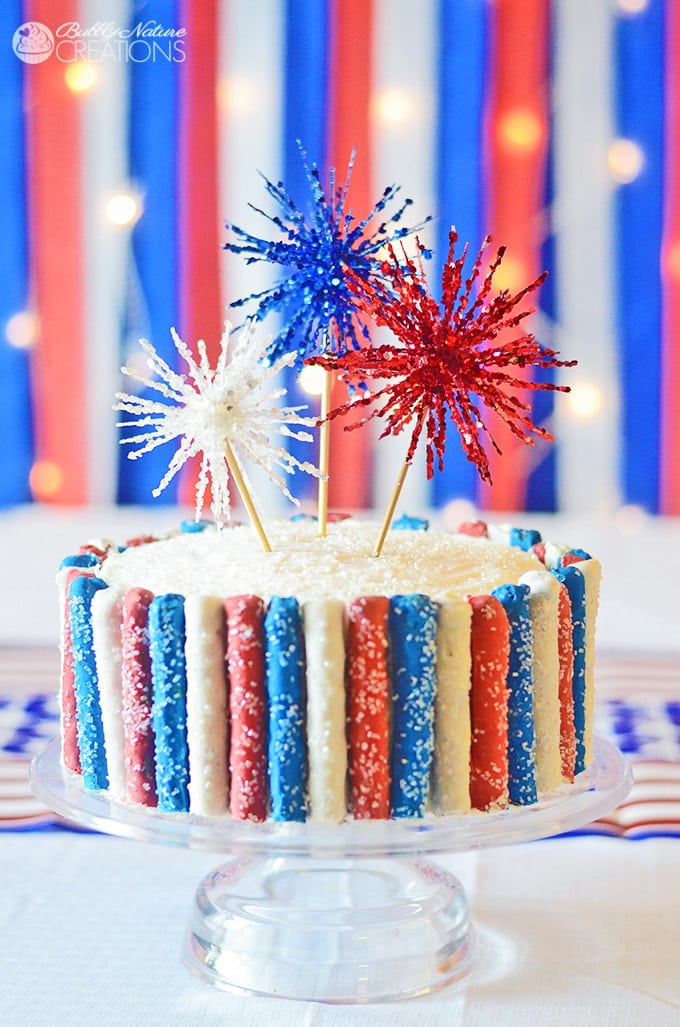 Amazing 4th of July Cake with Fireworks and Red White and Blue Sparkle Pretzels!  So fun!! #shop