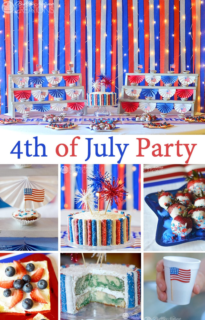 Amazing 4th of July Party with Firework decor and Red White and Blue Sparkle Backdrop!  So fun!! #shop #CMSalutingHeroes