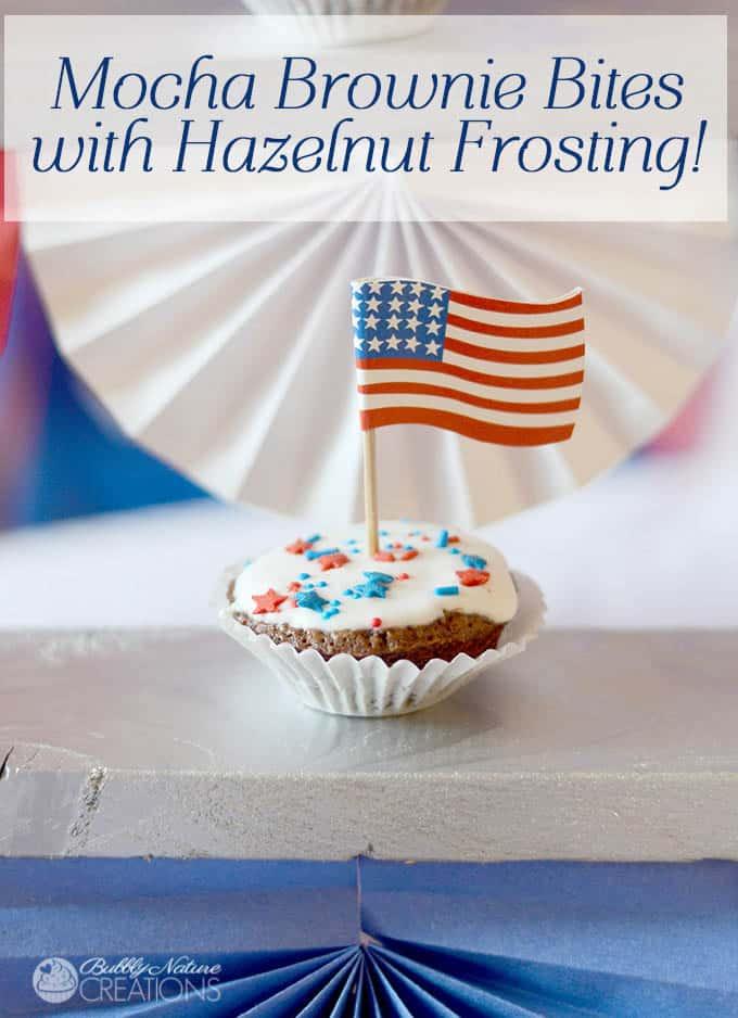 Mocha Brownie Bites with Hazelnut Frosting!