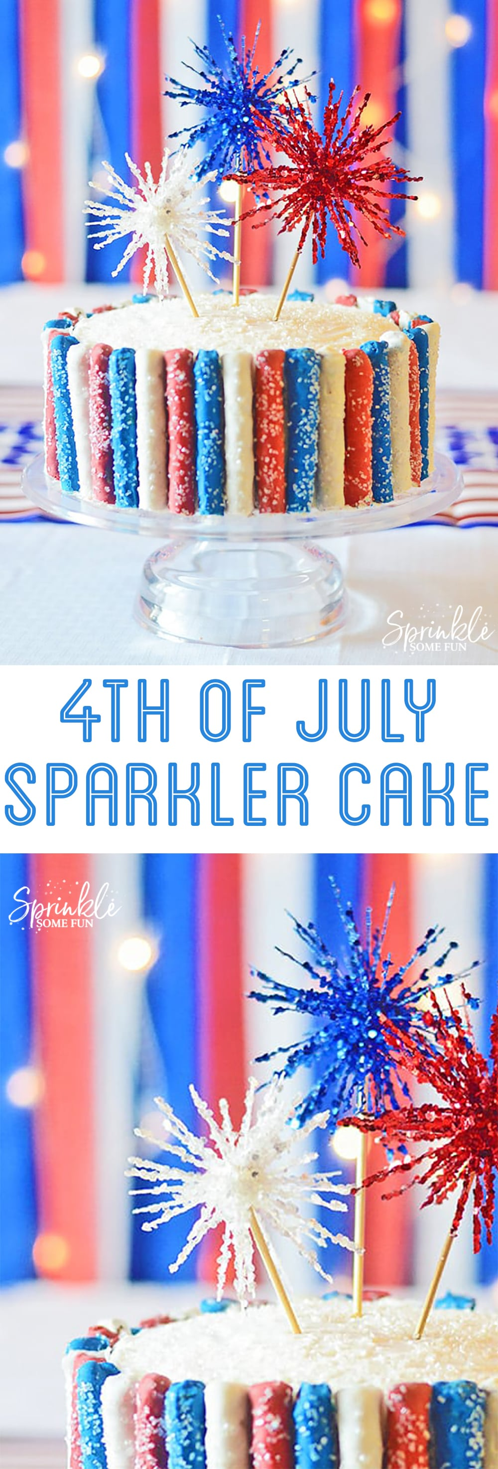 Sparkler Cake for 4th of July