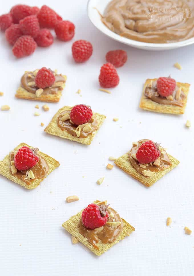 Salted Caramel and Raspberry Triscuit Squares