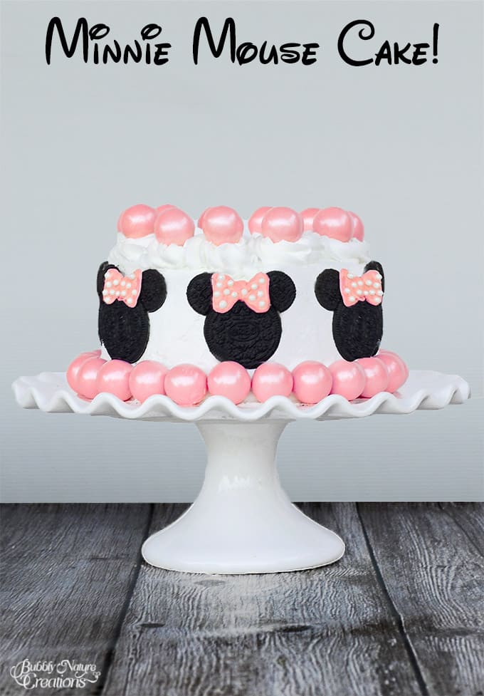Minnie Mouse Cake!  Made with Oreos and Gumballs!  So cute!