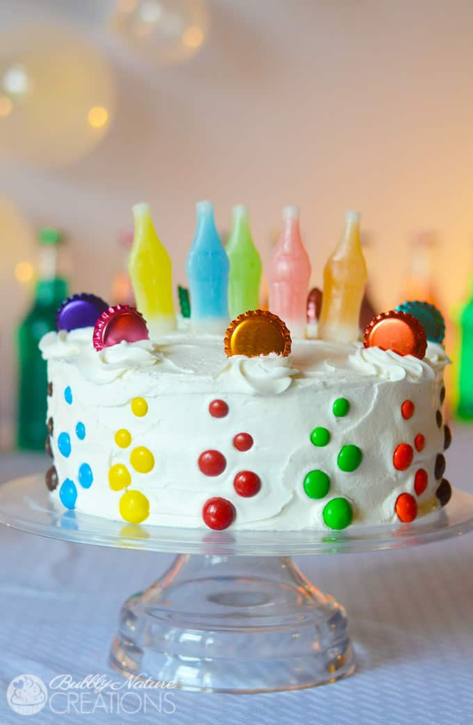 Pop Party!!!  Soda Pop Cake with Bottle Caps, Bubbles and Soda Bottle Candy!  Sooo cute!