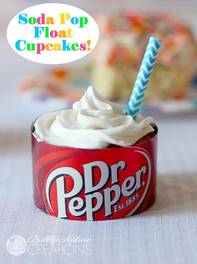 Soda Pop Float Cupcakes!  Make them any flavor of Pop!  Yum!