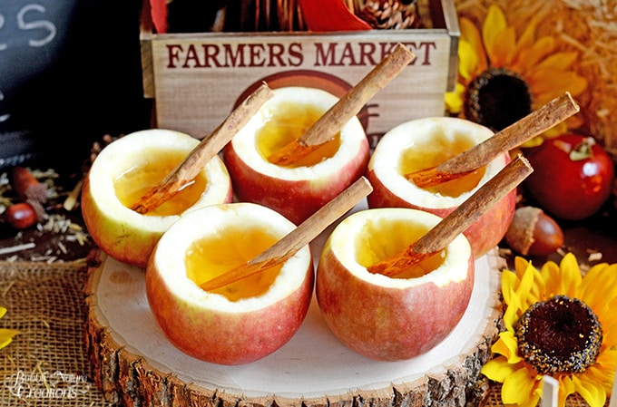Apple Cider in Real Apple cups!  Fun way to serve your apple cider in these scooped out apples!  #FlavorofFall #CollectiveBias #shop