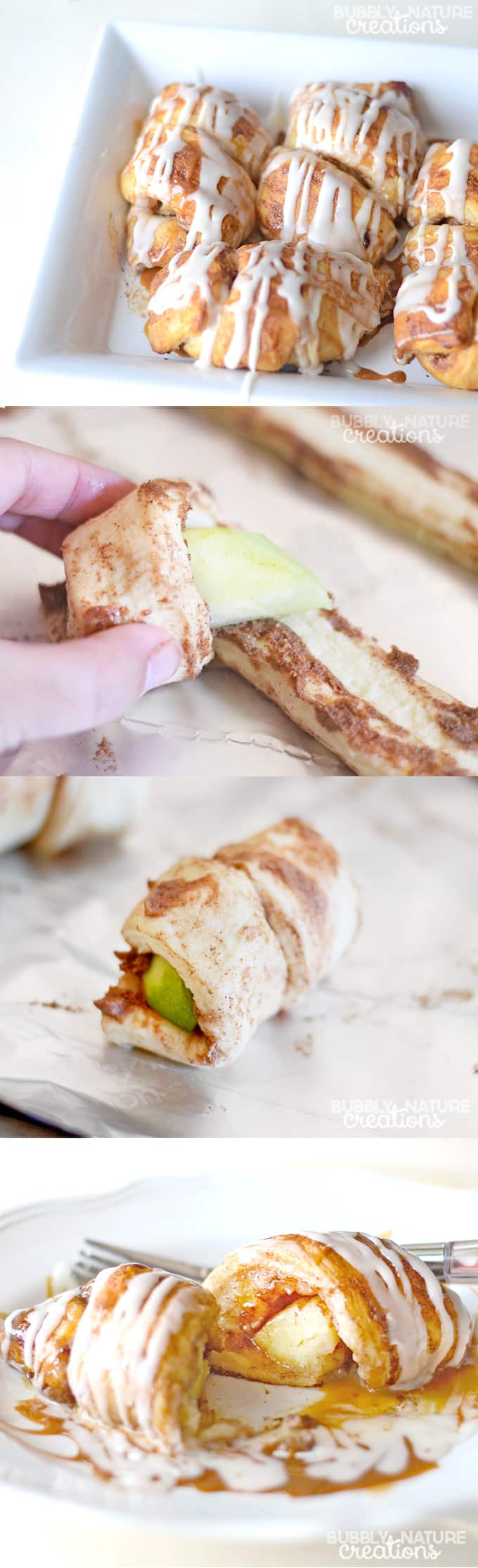 Caramel Apple Cinnamon Roll Ups! Easy treat made with only 3 ingredients!