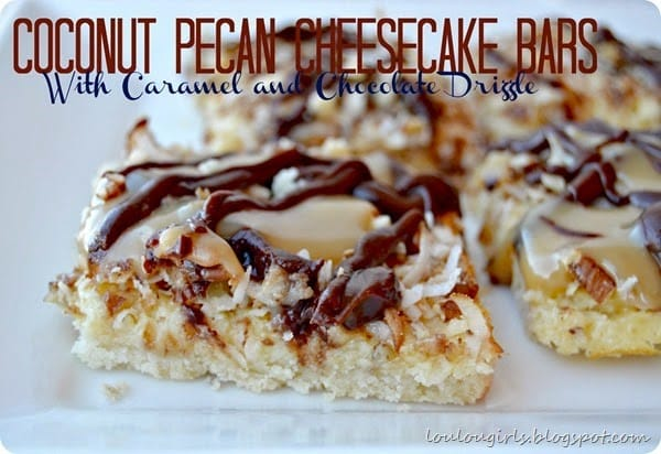 Coconut Pecan Cheesecake Bars!  So decadent and rich you will need share these!
