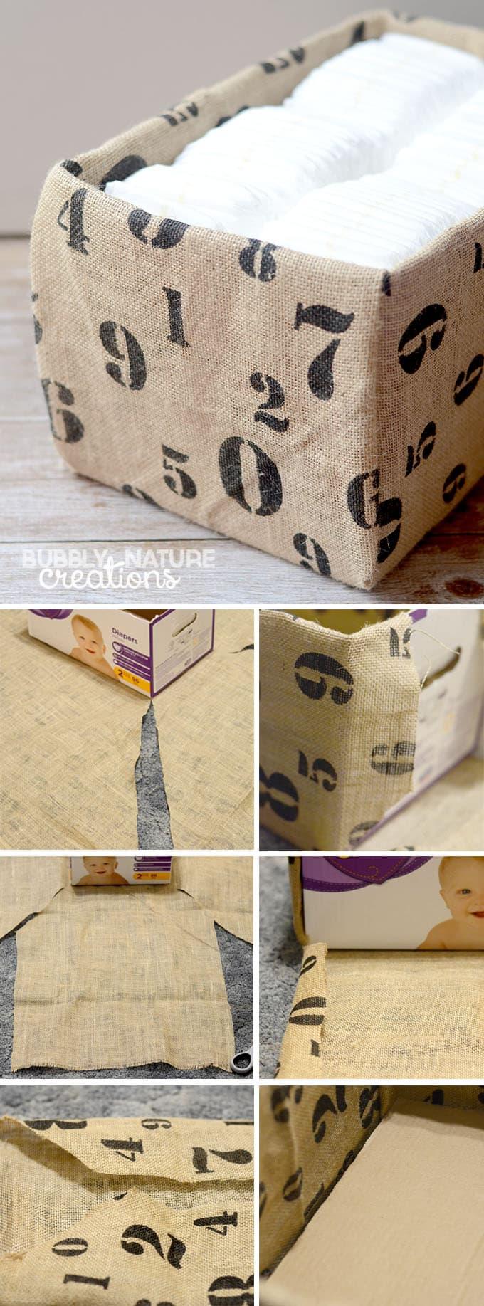 Fabric Covered Diaper Box Tutorial