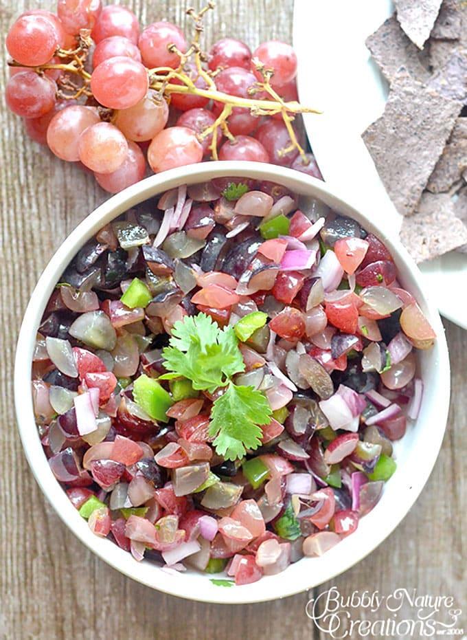 Grape Salsa! A delicious sweet and chunky grape salsa! #WalmartProduce #ad