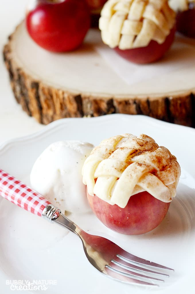 Baked Apple Pie in an Apple!  Takes only 3 ingredients to make... fun and easy!