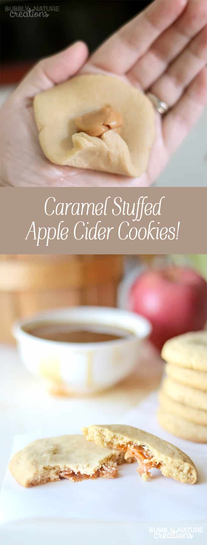 Caramel Stuffed Apple Cider Cookies! These bake up amazing and the first bite of caramel will have you hooked! Perfect for anytime you want a taste of fall apples and caramel!