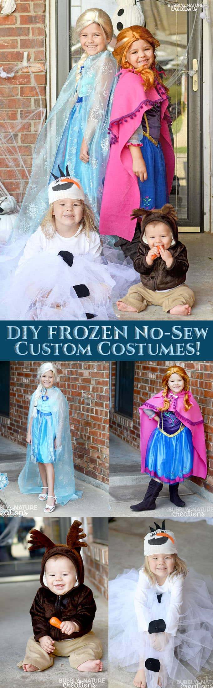 DIY FROZEN No-Sew Custom Costumes!!! It's easy to customize the standard costumes with this no sew tutorial!