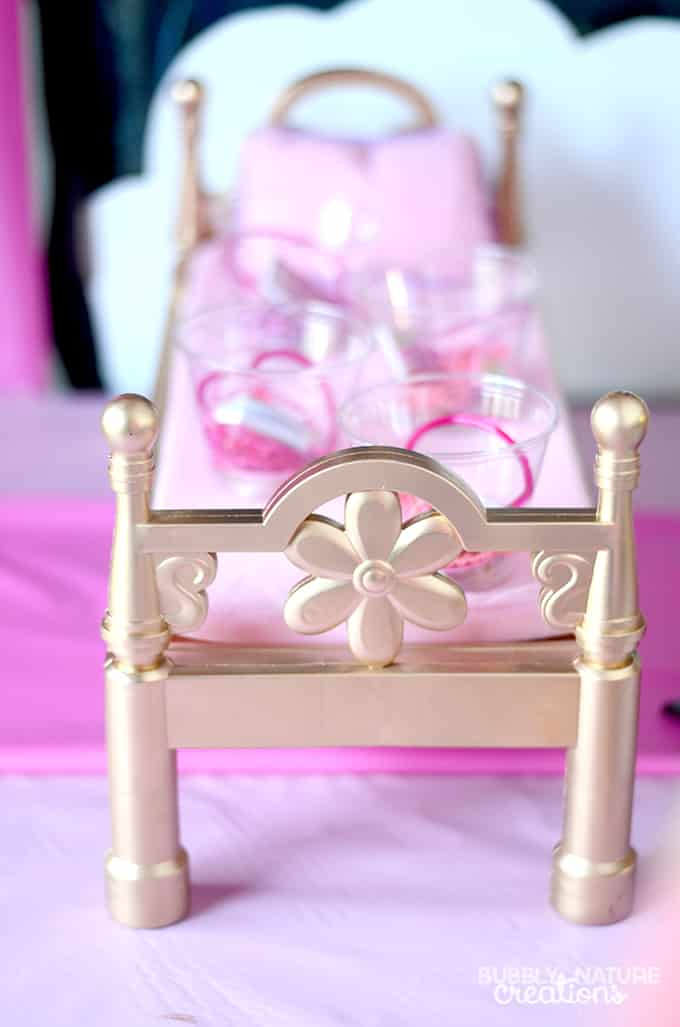 Sleeping Beauty Princess Slumber Party Table Decor Idea... Doll Beds Painted Gold!  #DisneyBeauties #CollectiveBias #shop