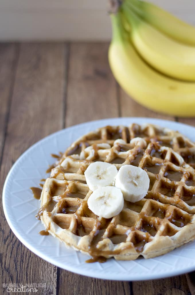 Banana Walnut Waffles with Caramel Sauce! - Sprinkle Some Fun