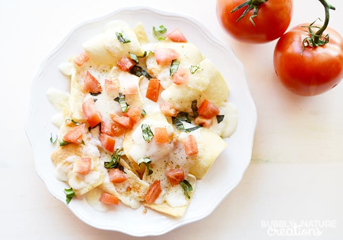 Caprese Pizza Nachos!  Easy snack or meal!