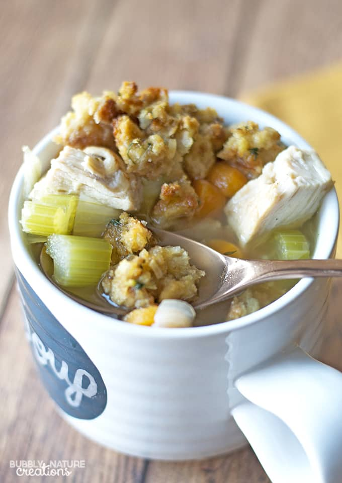 Leftover Turkey Soup with Stuffing Croutons!
