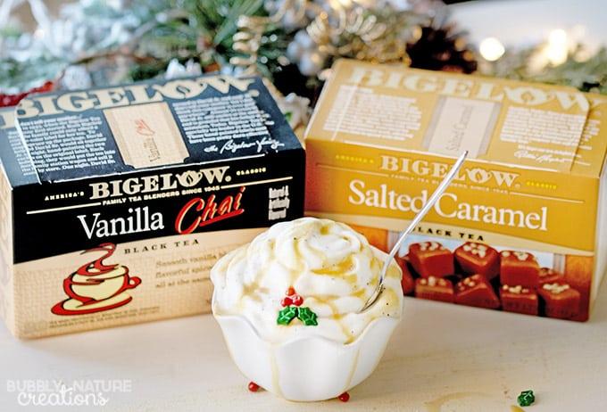Bigelow Vanilla Chai Tea Cupcakes with Vanilla Chai Mousse and Salted Caramel Tea Drizzle! #AmericasTea #ad