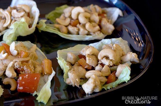 For a savory dish I made up Cashew Chicken lettuce wraps. They were a ...