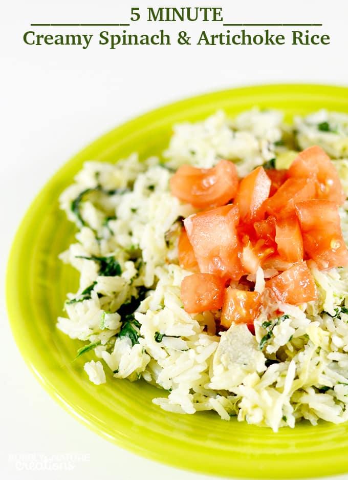 5 MINUTE Cream Spinach and Artichoke Rice!