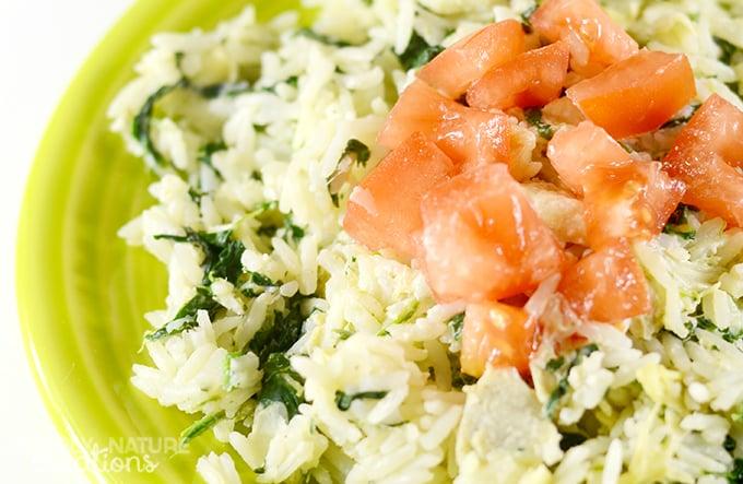 5 MINUTE Creamy Spinach & Artichoke Rice!