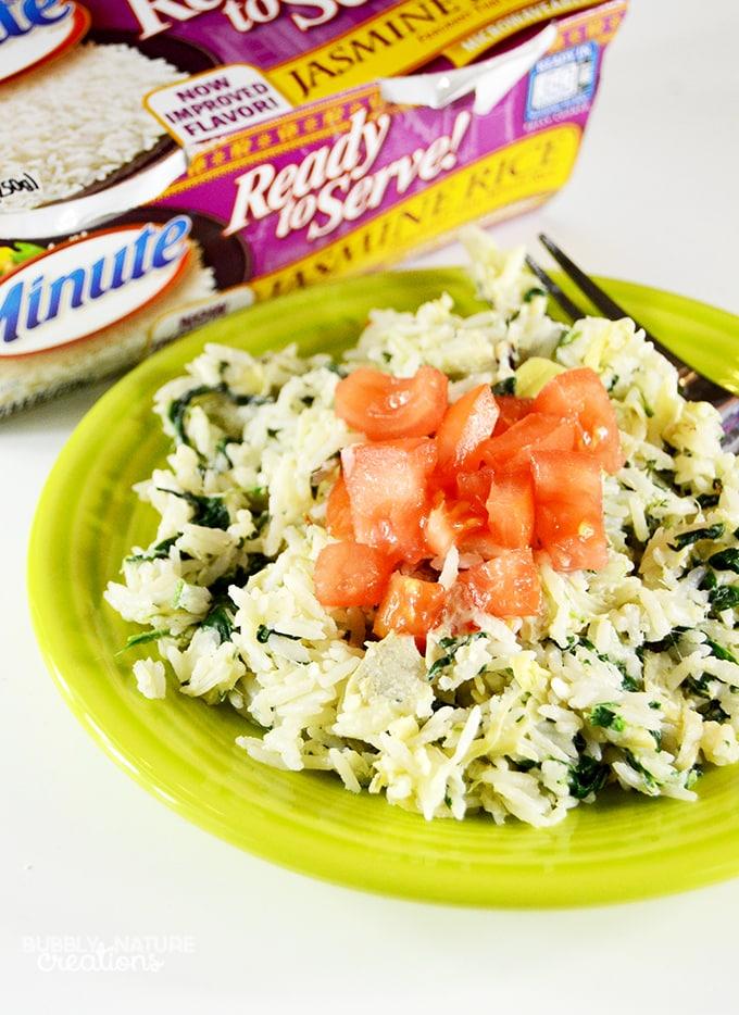 5 MINUTE Creamy Spinach and Artichoke Rice!