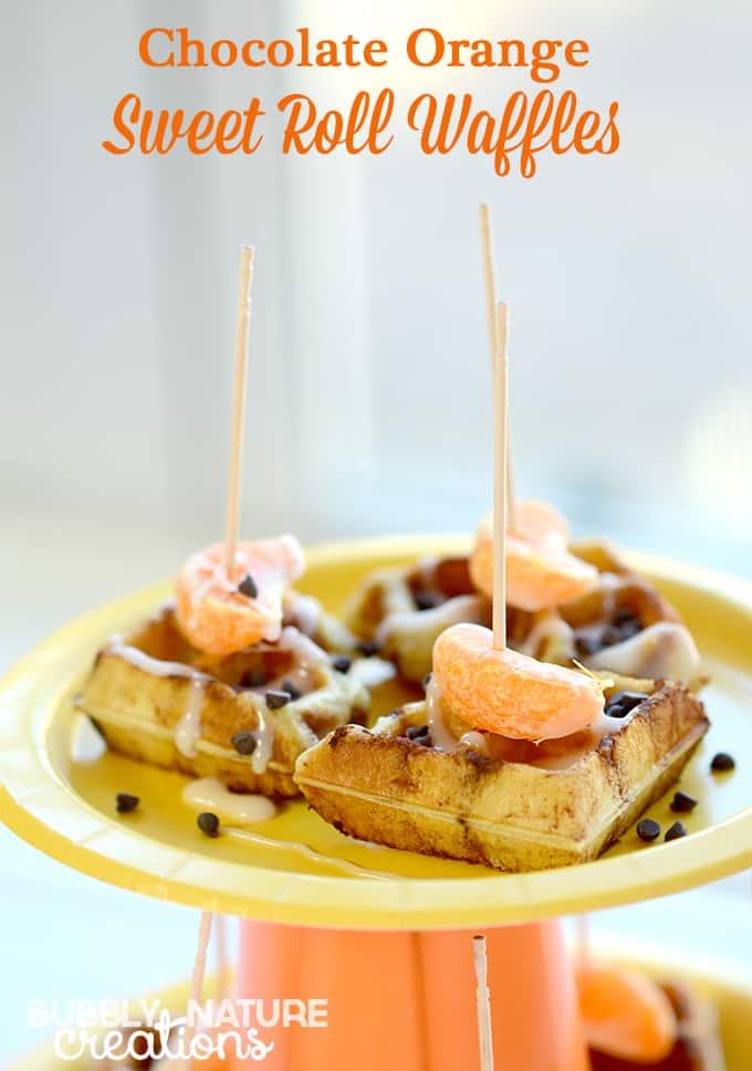 Chocolate Orange Sweet Roll Waffles! Made with refridgerator sweet rolls in the waffle maker.  Easy breakfast idea!